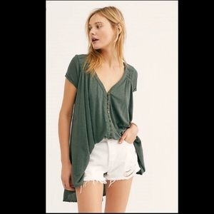 Free People Highland Tee army green color